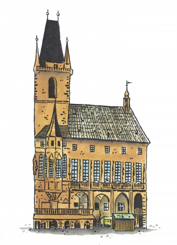 Krámky u paty radnice, které vidíte na kresbě z roku 1780, (další byly uvnitř radnice) sloužily tomu, aby nájemné obchodníků přispělo k udržování radnice a umožnilo i to, aby přímo na radnici byl ubytován městský písař a později i notář. Krámky prodávaly chléb, ovoce, sukno, kožešnické výrobky apod. (Kresba: Jiří Filípek)