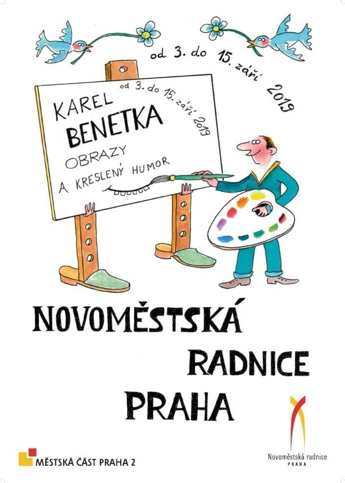 Výstava obrazů a kresleného humoru Karla Benetky v Novoměstské radnici (2019)