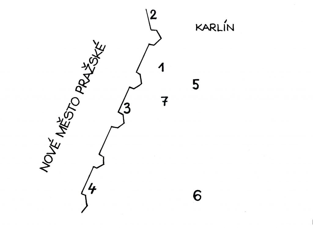 Mapka: 1 – první Krennův žižkovský zájezdní hostinec // 2 – Poříčská brána // 3 – Horská či Vídeňská brána na konci dn. Senovážného náměstí nedaleko dn. křižovatky U Bulhara // 4 – Koňská brána // 5 – Šibeniční hora // 6 zahrada Kanálka // 7 – Krenovka (Kresba: Jiří Filípek)