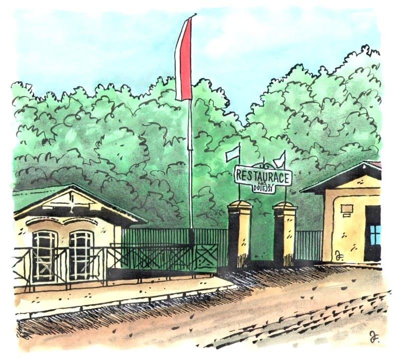 Ilustrace zachycuje jednu z restaurací z roku 1907, kde se podávaly skvělé grundle. Nesla název Na Dolejší, a nacházela se u dn. podolského Ústavu pro péči o matku a dítě. (Kresba: Jiří Filípek)