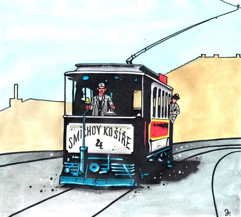 Hlaváčkova tramvaj byla v tehdejších národních barvách – tedy červené a bílé, jezdila od 13. června 1897 mezi 6. a 22. hodinou, jízdné stálo od 3 do 5 krejcarů, a bylo zavedeno zlevněné dělnické jízdné. (Kresba: Jiří Filípek)