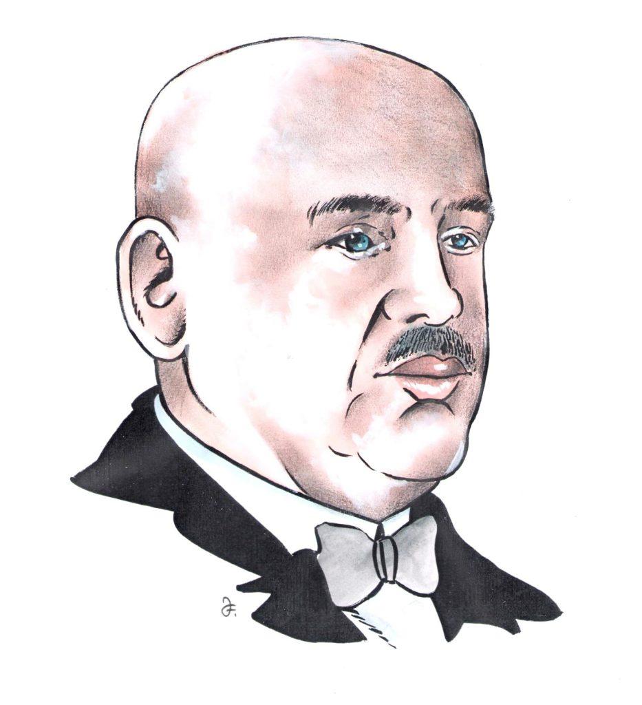 Hoteliér Karel Šroubek (Kresba: Jiří Filípek)