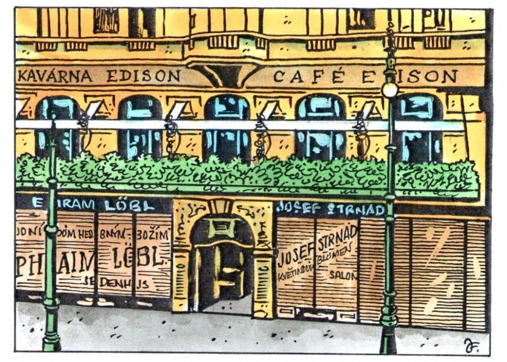 Kavárna, která dostala název Edison, se předtím krátce jmenovala Kovářova, ale nový majitel K. Klein ji přejmenoval na počest vzácného hosta. Hosté, kteří vyjížděli do 1. patra výtahem, mohli v létě sedat na balkoně, jehož zábradlí bylo obrostlé popínavými rostlinami, aby je kryly před zvídavými Pražany. (Kresba: Jiří Filípek)