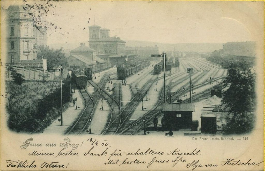 Nádraží Franze Josefa – historická pohlednice z roku 1900 (Zdroj: web Historické foto)