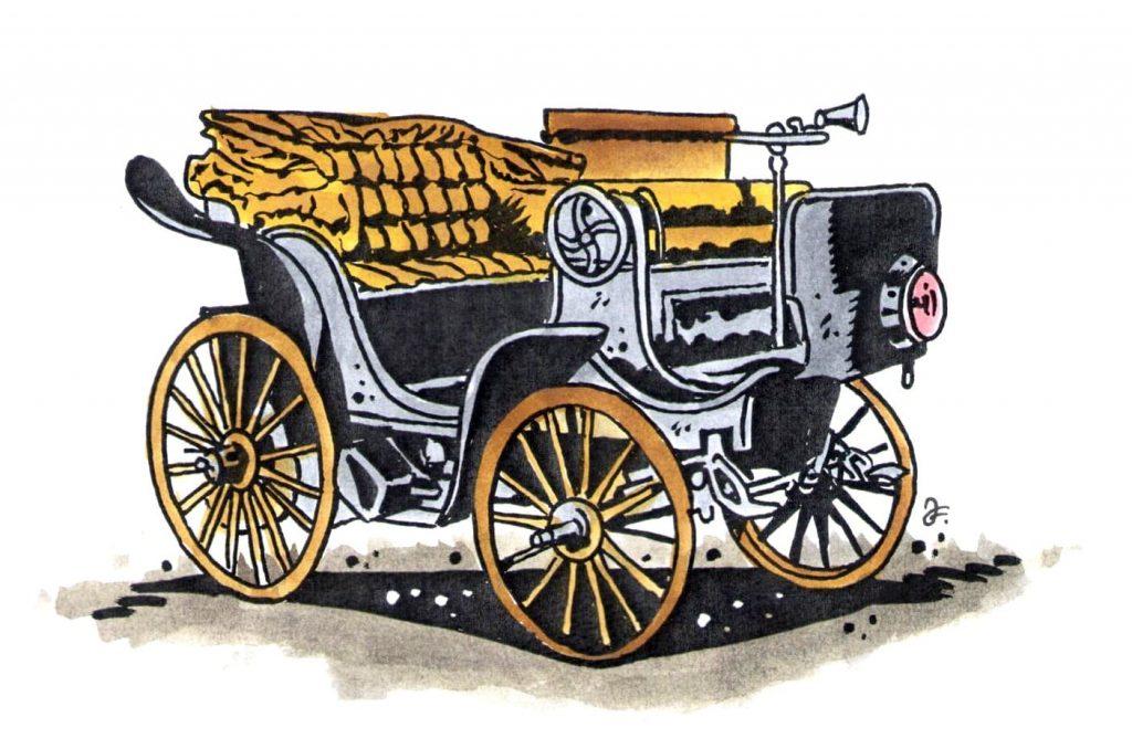 Elektromobil Františka Křižíka z roku 1895. (Kresba: Jiří Filípek)